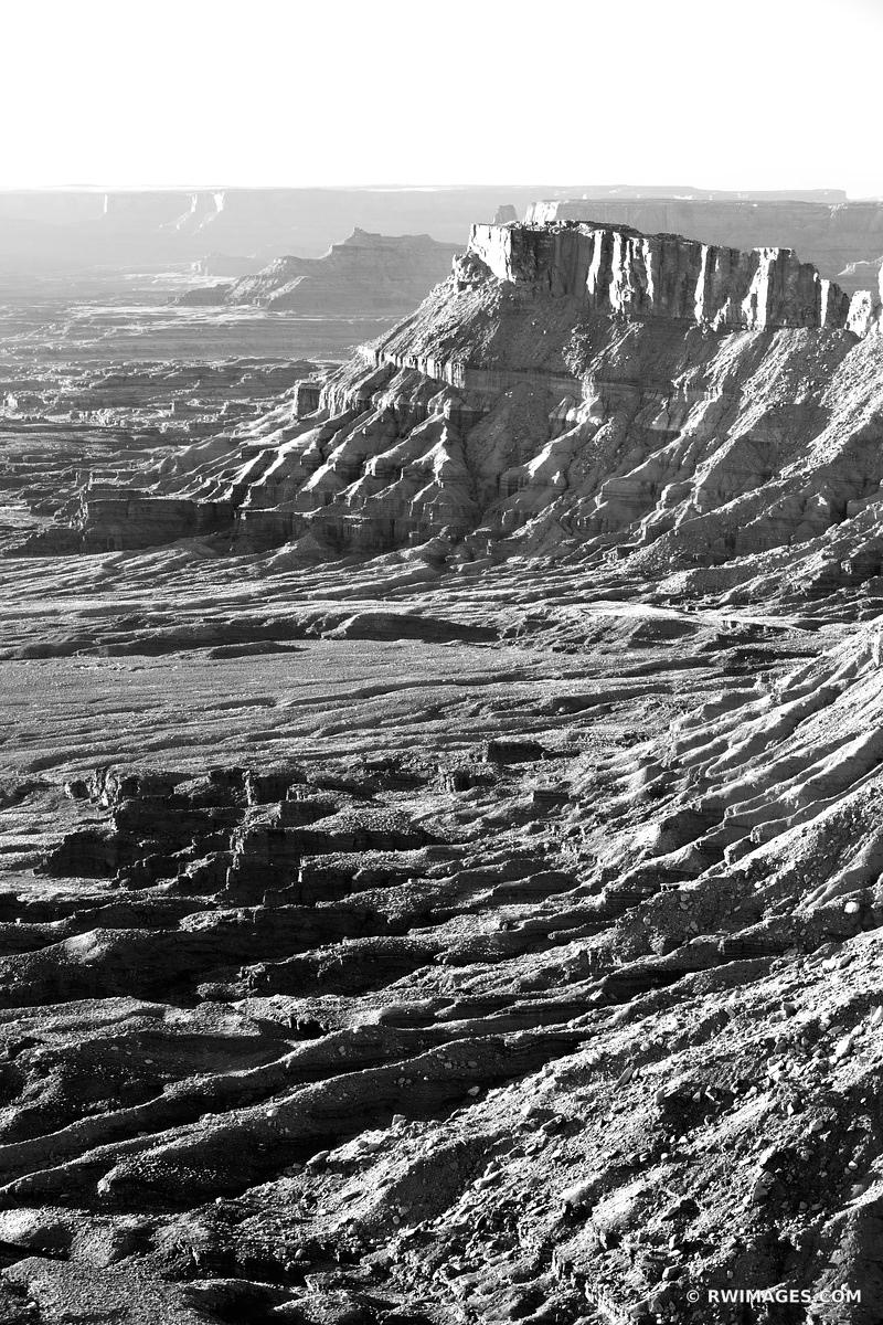 NEEDLES OVERLOOK  SUNSET CANYONLANDS NATIONAL PARK UTAH BLACK AND WHITE VERTICAL