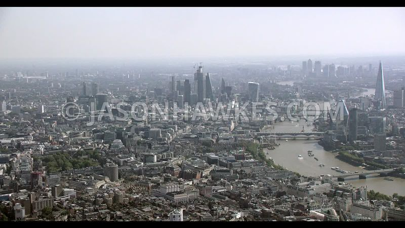 Aerial footage of Covent Garden, with City of London in background.