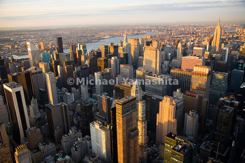 From the Solow Building on 57th Street (bottom left) to the Empire State Building on 34th Street, midtown Manhattan, is as ar...