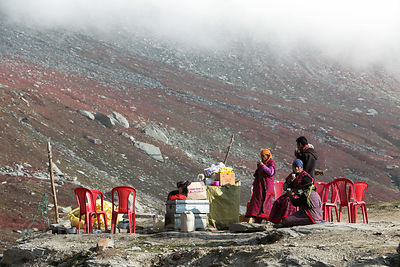The highest restaurant I've ever seen at the summit of Rohtang Pass (13,054 ft., 3,979 m), Manali, India