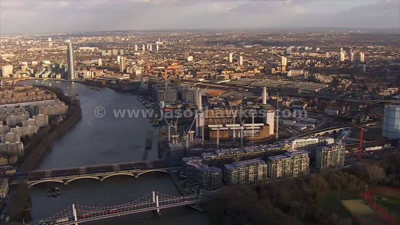 Aerial footage of Battersea Power Station, London