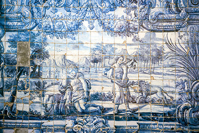 Details of tiles in the Cloisters of the Porto Cathedral (The Porto Cathedral (Sé do Porto), Porto, Portugal.