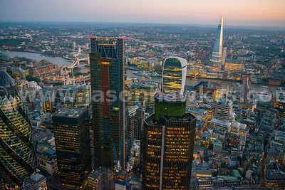 Aerial view of City skyscrapers at dusk, London