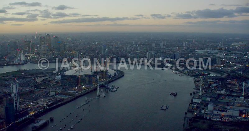 Aerial footage of the River Thames between Greenwich Peninsula and Leamouth Peninsula