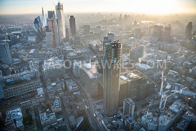 Aerial view of Principle Place, Liverpool Street Station, City of London, London.