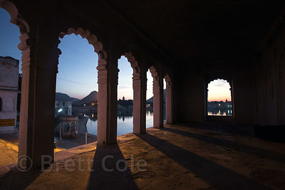 Looking out onto Pushkar lake from a temple, Pushkar, Rajasthan, India