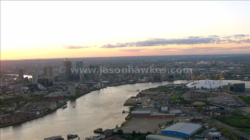 Aerial footage of North Greenwich and Canary Wharf, London, England, UK