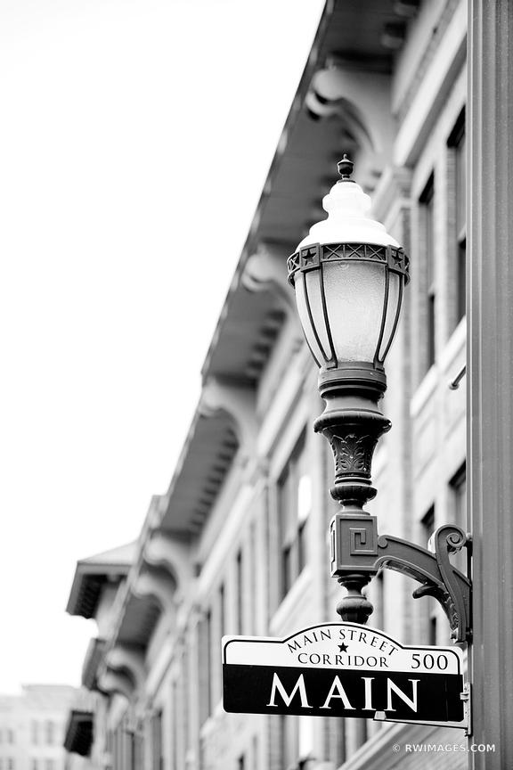 MAIN STREET HISTORIC DISTRICT HOUSTON TEXAS BLACK AND WHITE VERTICAL