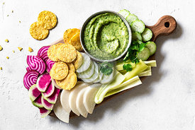 Tomatillo salsa  guacamole with vegetable chips