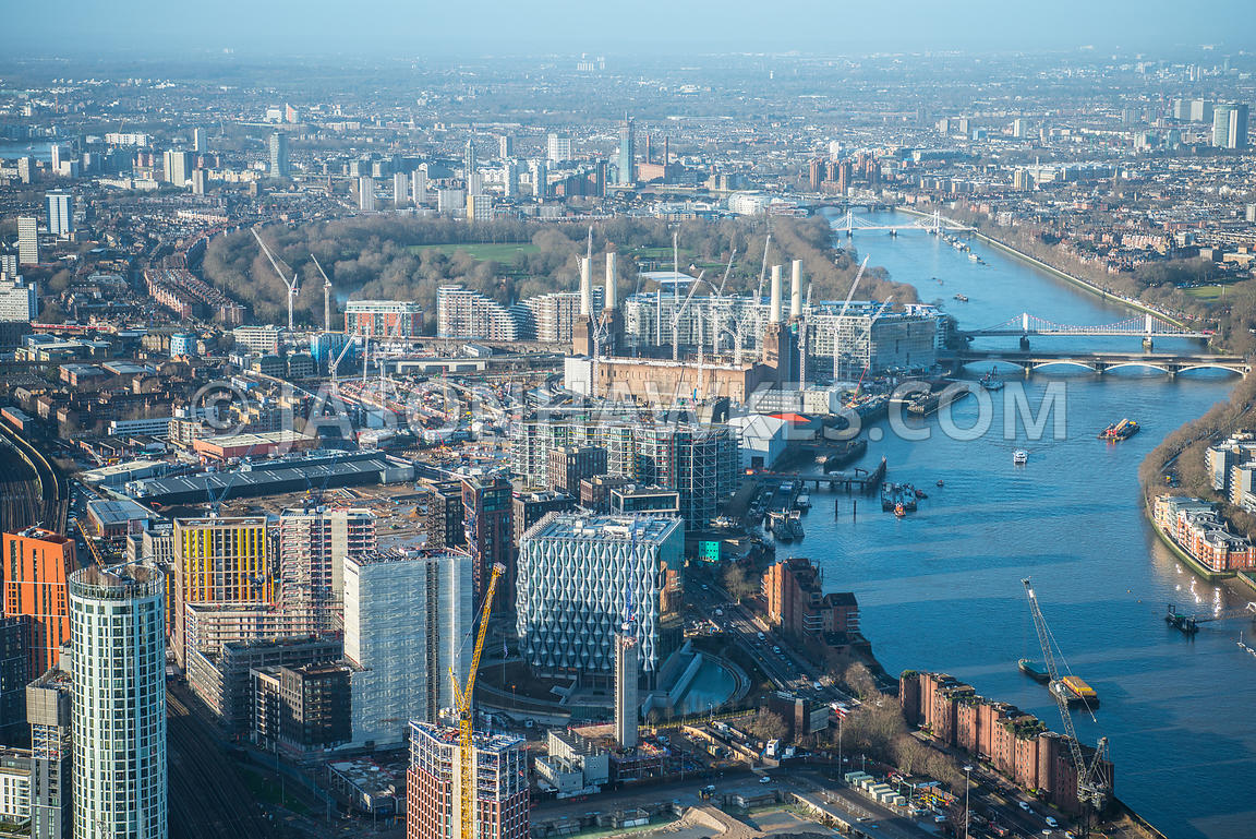 Aerial view of the The New London Embassy (NLE), Nine Elms, London.