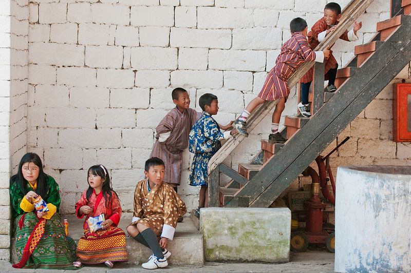 This photograph of the kids playing during the Thimphu festival was shot in a monastery in Bhutan.