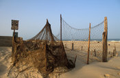 Muslim cemetery, each fisherman's grave is covered with a fishing net, St-Louis, Senegal