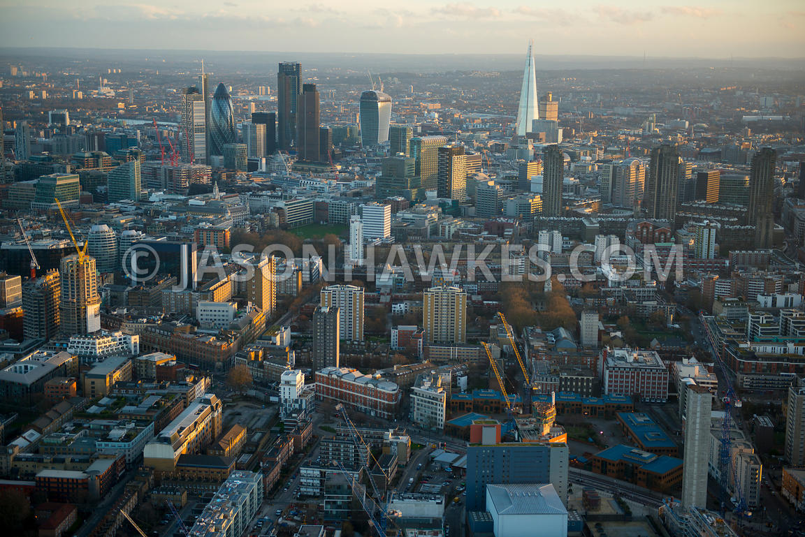 Aerial view of St Luke's and the City at dusk, London