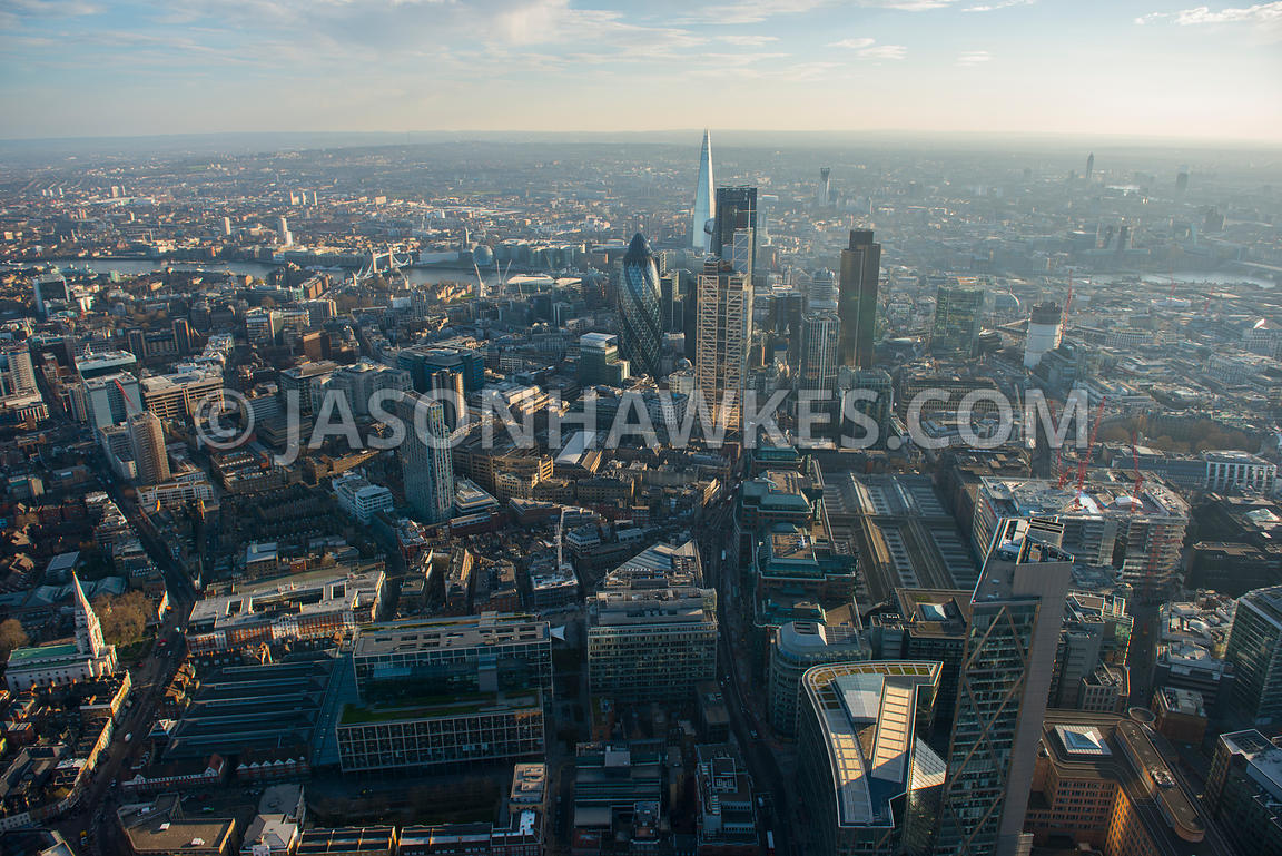 Aerial view of Liverpool Street Station and the City, London