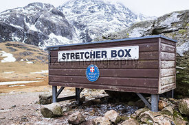 The Mountain Rescue stretcher box in the Lake District.