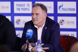 Sinisa Ostoic during the Final Tournament - Final Four - SEHA - Gazprom league, Press conference in Brest, Belarus, 06.04.201...