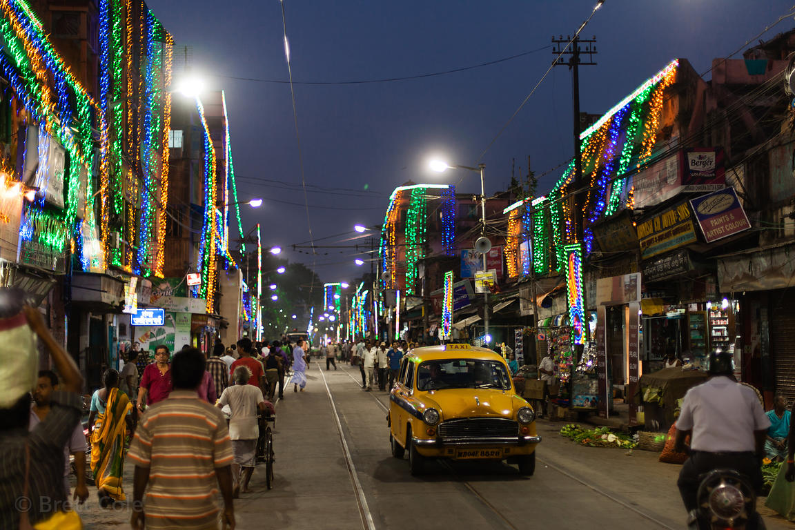 General view of Sovabazar, Kolkata, India at night during the Durga Puja festival.