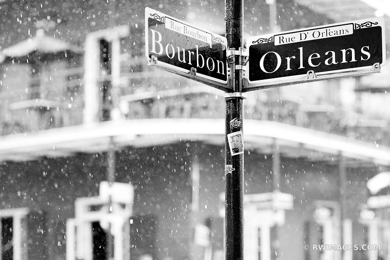 BOURBON AND ORLEANS STREET SIGN RAINY DAY FRENCH QUARTER NEW ORLEANS BLACK AND WHITE