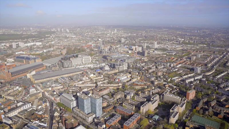 Aerial footage of King's Cross and St Pancras railway stations