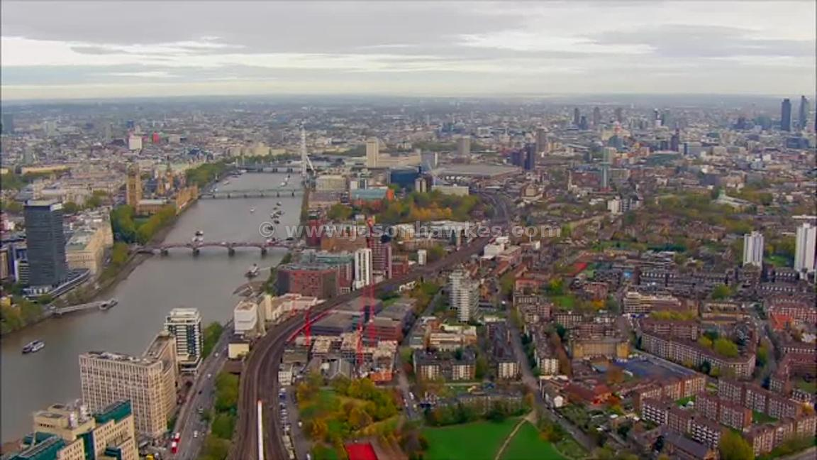Aerial footage over Waterloo Station, Lambeth, London