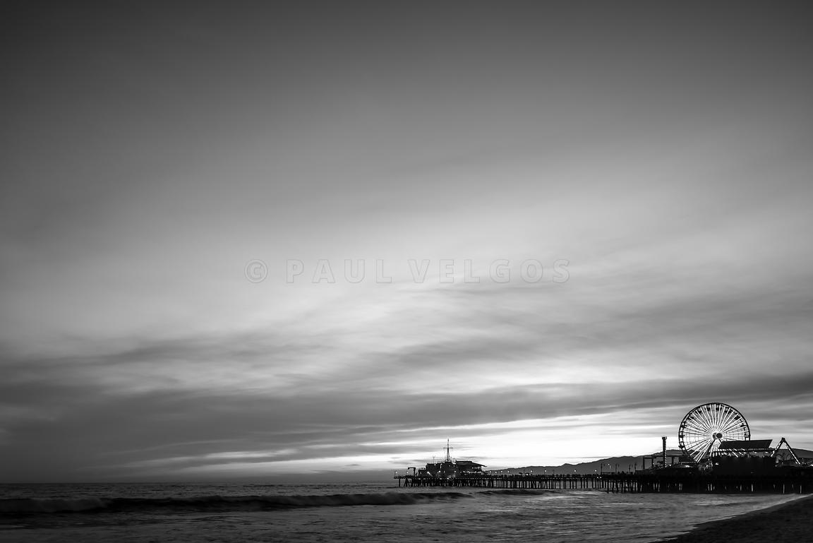 Santa Monica Pier at Sunset Black and White Picture