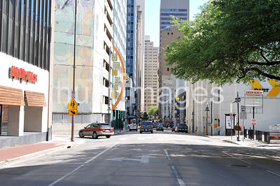 Almost empty street in downtown Dallas, Texas