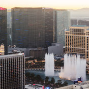 Aerial view of the Cosmopolitan Hotel and surrounding buildings including the Bellagio Hotel's large fountain, Las Vegas, Nev...