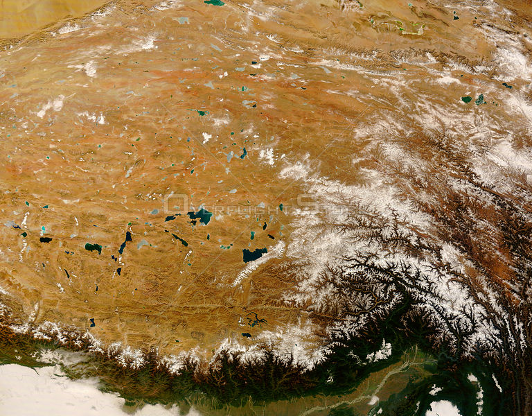 EARTH Central Asia -- 18 Dec 2008 -- Cloudless skies allowed a clear view of Tibet in mid-December 2008.