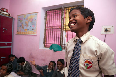 A boy beams as he answers a question at a school in Varanasi, India operated by Dutch NGO Duniya (duniya.org)