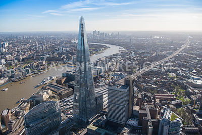 Aerial view of London, Borough with News Building and Guys Hospital at London Bridge Station.