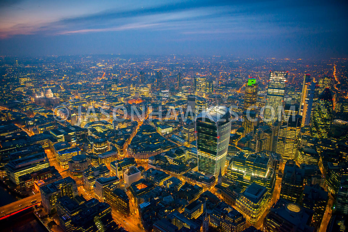 Aerial view of 20 Fenchurch Street at night, London