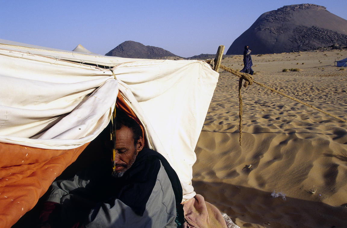Mauritania - Chinguetti - A nomad in his tent in the Sahara Desert