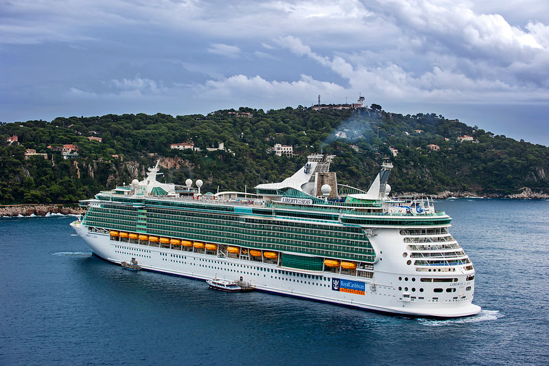 Cruise ship MS Liberty of the Seas of Royal Caribbean International, docked in Nice on French Riviera, France, Europe. Octobe...