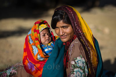 Mother and baby from the Cheeta cast, Kharekhari village, Rajasthan, India. The Cheeta are part Hindu, part Muslim.