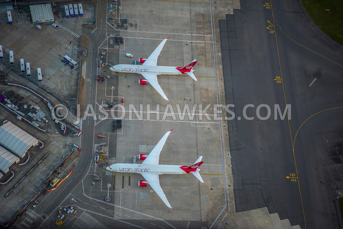 Aerial view of London, Heathrow airport and aeroplanes