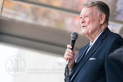 Famed Hawkeye football coach Hayden Fry addresses the crowd for Fry Fest during the pep rally at the Coralville Marriott and ...