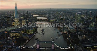 London Aerial Footage of Tower Bridge towards City of London.