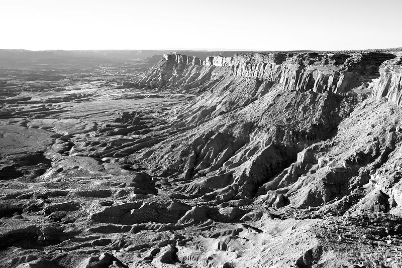 NEEDLES OVERLOOK  SUNSET CANYONLANDS NATIONAL PARK UTAH BLACK AND WHITE HORIZONTAL