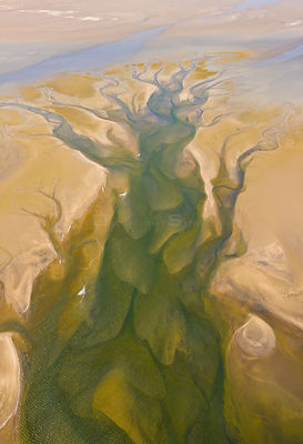 Aerial view of salt evaporation on Walvis Bay, Namib Desert, Namibia, August 2008