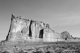 TOWER OF BABEL COURTHOUSE TOWERS ARCHES NATIONAL PARK UTAH BLACK AND WHITE HORIZONTAL