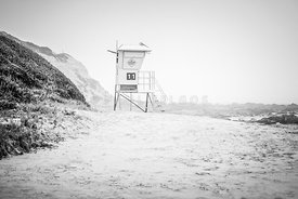 Crystal Cove Lifeguard Tower #11 Black and White Picture