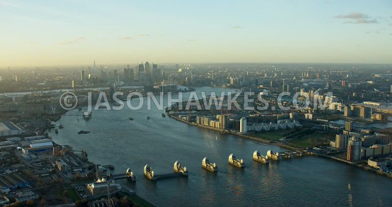 Aerial footage of the River Thames, from the Thames Barrier to the O2 Arena