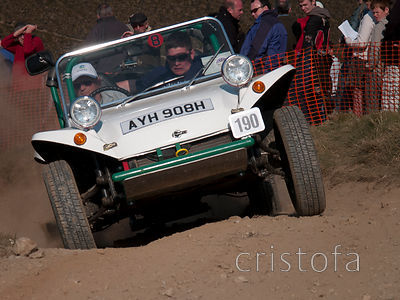 a VW buggy pressing hard at the top of the steep Blue Hills Section of the MCC Land's End Trials
