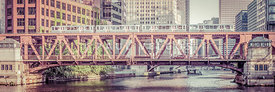 Chicago Lake Street Bridge L Train Retro Picture