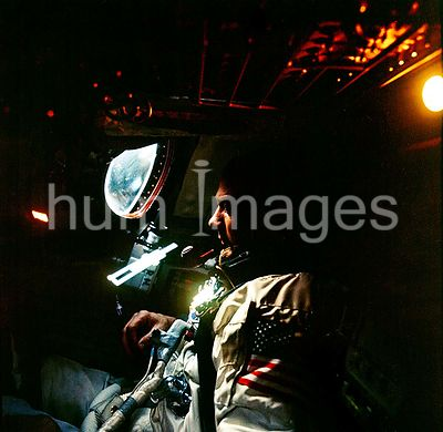 13 Nov. 1966) --- Astronaut Edwin Aldrin Jr. photographed inside the Gemini-12 spacecraft cabin during the spaceflight