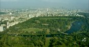 London Aerial Footage of Hyde Park towards Marble Arch.