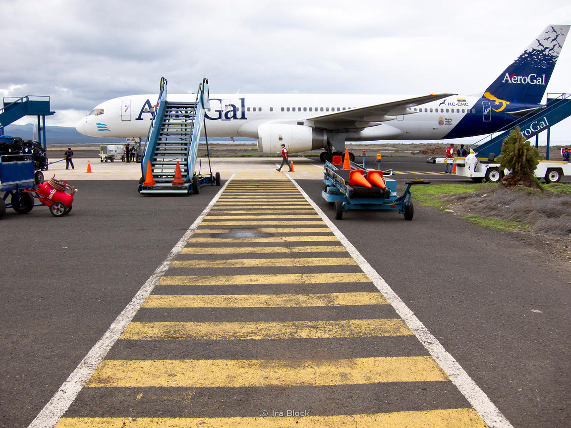 The AeroGal airplane on the ground at the Baltra Airport in the Galapagos.
