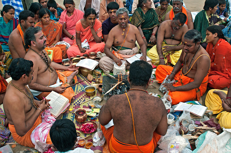 This photograph of the saints performing a havan was shot at the Kumbh Mela, Allahabad