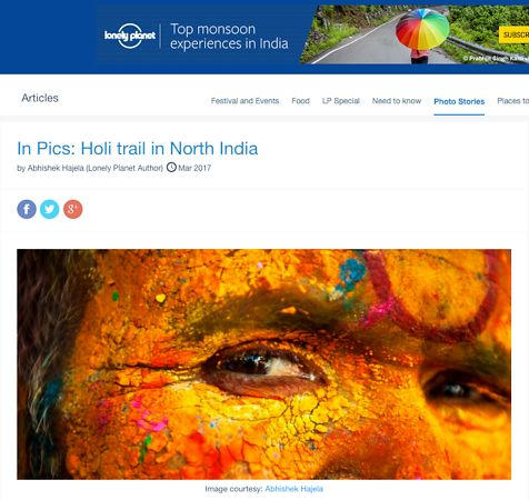 Holi trail in North India; Lonely Planet March 2017