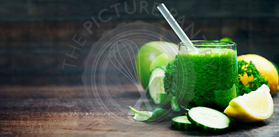 Fresh organic green smoothie - detox, diet and healthy food concept